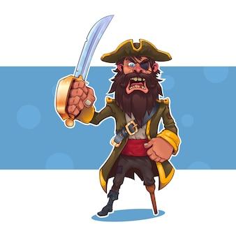 Pirata dos desenhos animados com uma espada