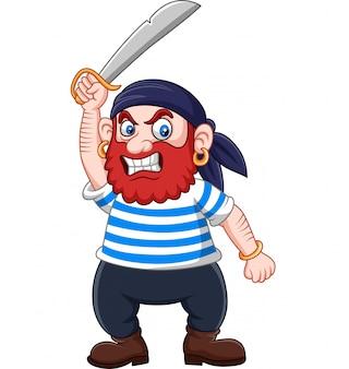 Pirata dos desenhos animados segurando uma espada