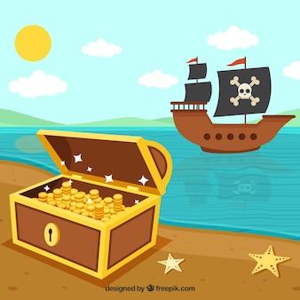 Pirata e fundo do barco do tesouro