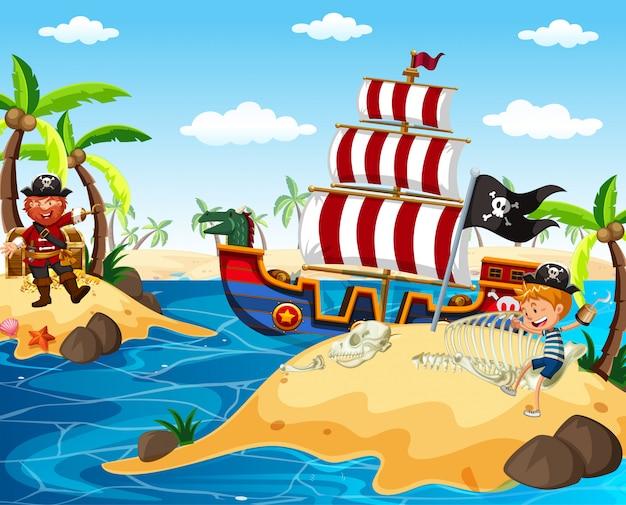 Pirata e menino feliz navegando no oceano