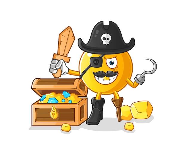 Pirata emoticon com mascote do tesouro Vetor Premium