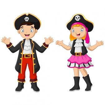 Pirata engraçado dos desenhos animados, acenando a mão