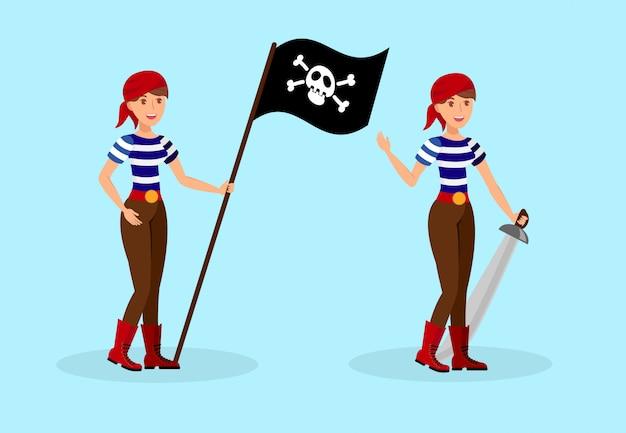 Pirata feminina em conjunto de caracteres de camisa de t listrado
