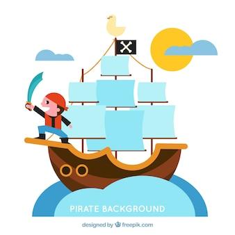 Pirata, fundo, espada, bote