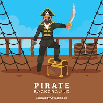 Pirata, fundo, tesouro, bote