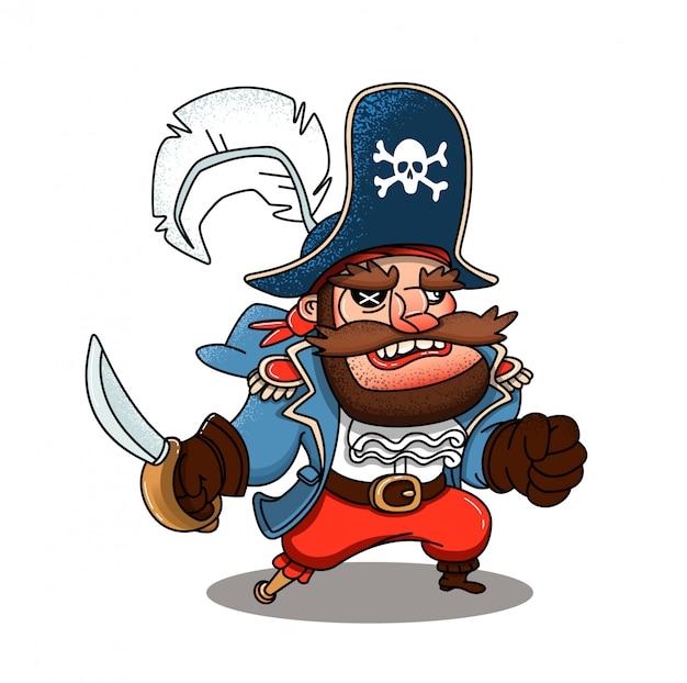 Pirata malvado com um sabre