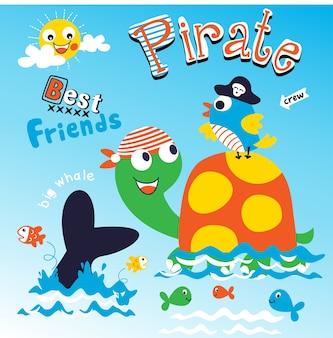 Pirata melhor amigo animal cartoon vector art