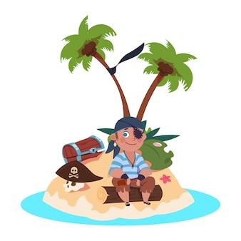 Pirata menino senta-se na ilha do tesouro - ilustração em vetor personagem dos desenhos animados