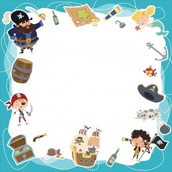 Pirata, motivo, fundo