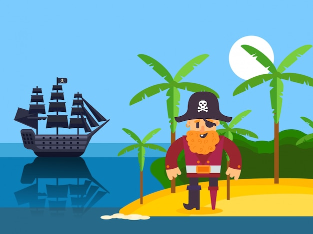 Pirata na ilha tropical, ilustração. capitão pirata de personagem de desenho animado com barba ruiva. corsair na praia com palm, navio de vela preto no mar