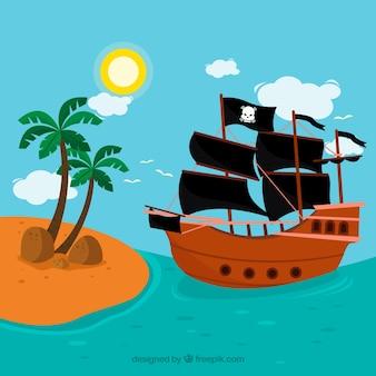 Pirata, navio, fundo, aproximar-se, ilha