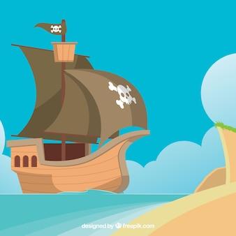 Pirata, navio, fundo, ilha