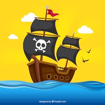 Pirata, navio, fundo