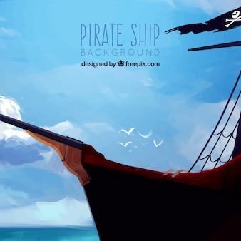 Pirata, navio, pintura, fundo
