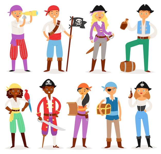 Pirata pirata bucaneiro homem ou mulher em traje de pirata no chapéu com conjunto de ilustração de espada de pessoa de marinheiro de pirataria com baú do tesouro no fundo branco