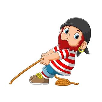 Pirata puxando uma corda ilustração de personagem de desenho animado