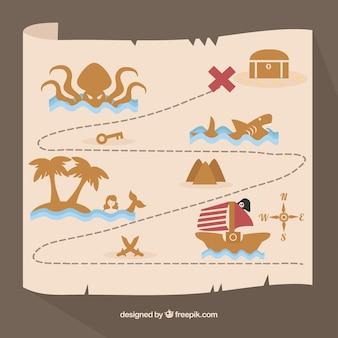 Pirata, tesouro, mapa, marrom, elementos