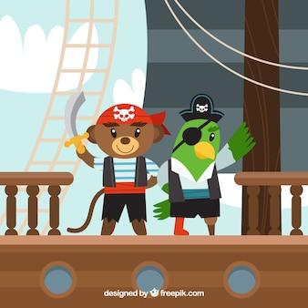 Pirata, urso, papagaio, fundo, liso, desenho