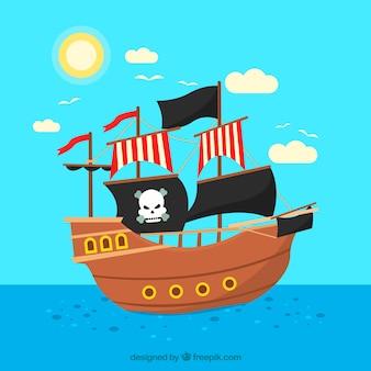Pirata, velejando, bote, fundo