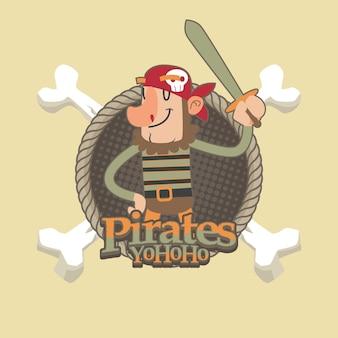 Piratas bonitos dos desenhos animados de fundo vector