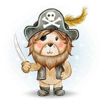 Piratas bonitos leão rei ilustração aquarela