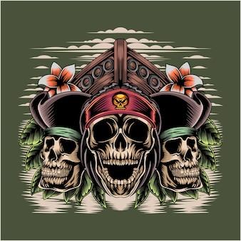 Piratas cabeça logotipo mascote esport