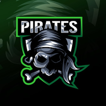 Piratas caveira mascote logotipo esport design