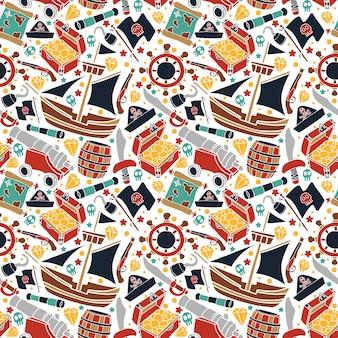 Piratas coloridos de vetores ajustados repetição padrão em fundo branco