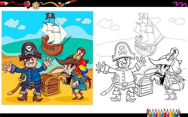 Piratas com tesouro para colorir