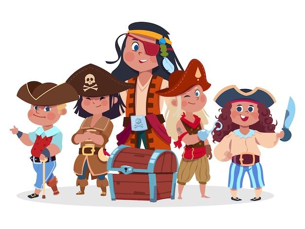 Piratas crianças equipe e ilustração vetorial de baú do tesouro