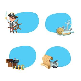 Piratas do mar dos desenhos animados adesivos