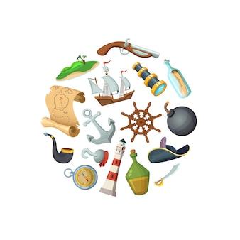 Piratas do mar dos desenhos animados na ilustração de forma de círculo