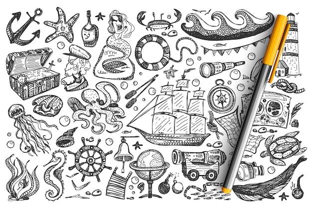 Piratas doodle conjunto.