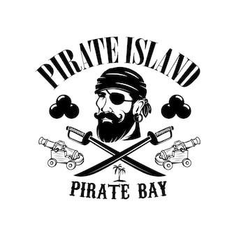 Piratas. modelo de emblema com espadas e cabeça de pirata.