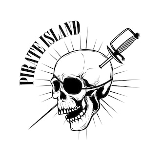 Piratas. modelo de emblema com espadas e caveira pirata. elemento para o logotipo, etiqueta, emblema, sinal. ilustração