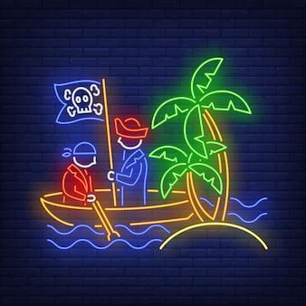 Piratas no barco e ilha com sinal de néon de palmeiras