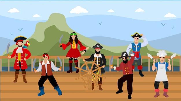 Piratas no convés do navio na ilustração de viagens do mar.