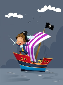 Piratas no navio na ilustração do mar