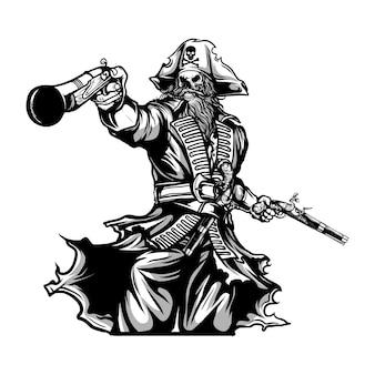 Piratas segurando ilustração de arma