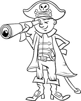 Pirate boy cartoon colorir página