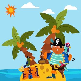 Pirateie o caráter masculino que está a ilha sozinha, ilustração lisa do vetor do pássaro do papagaio. baú do tesouro insular, palmeira praia tropical e lado do oceano.