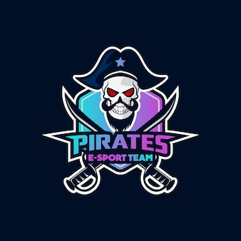 Pirates mascot sport esport design de logotipo