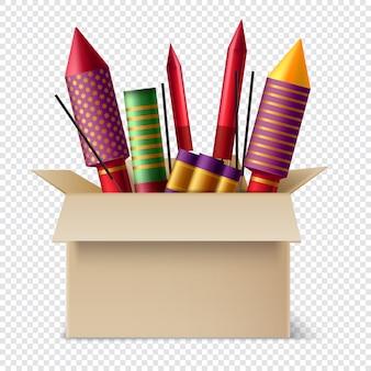 Pirotecnia realista na composição da caixa com diferentes estrelinhas e bastões de luzes de bengala dentro da caixa de papelão
