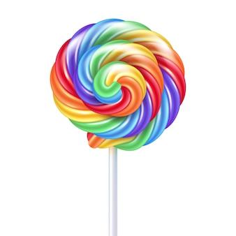 Pirulito colorido do arco-íris - rebuçado doce no palito.