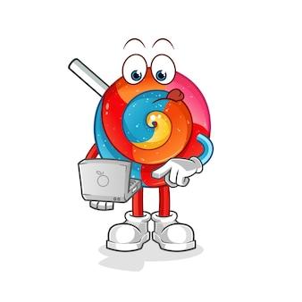 Pirulito com ilustração do mascote do laptop