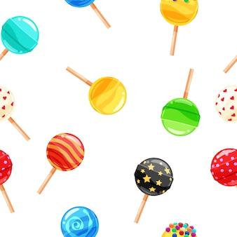 Pirulito de doces coloridos sem costura padrão, caramelo na vara