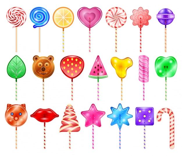 Pirulito de ícone realista conjunto de doces. pirulito doce ilustração em fundo branco. pirulito de ícone conjunto realista de doces.