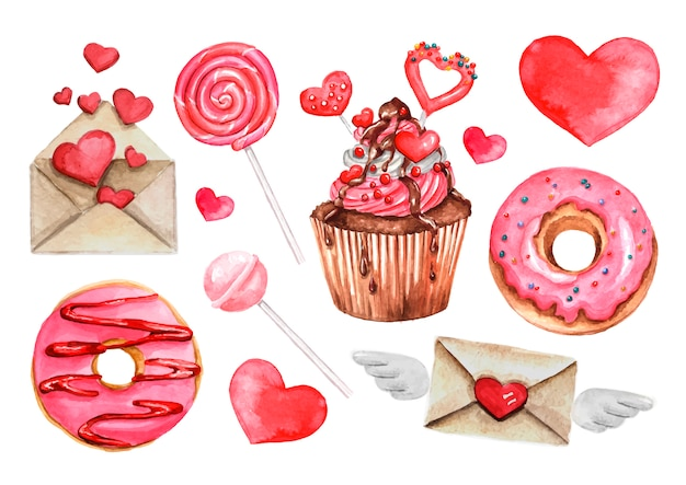 Pirulito, doce doce, rosquinha, conjunto de corações