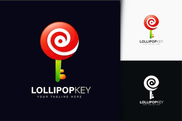 Pirulito e design de logotipo chave com gradiente