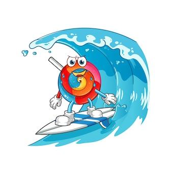 Pirulito surfando na ilustração do personagem da onda